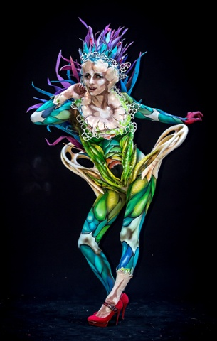 A model poses at the world bodypainting festival, 5 July 2014.