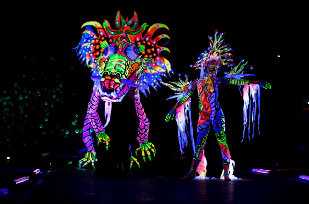 A model poses for an award in the fluorescent category.