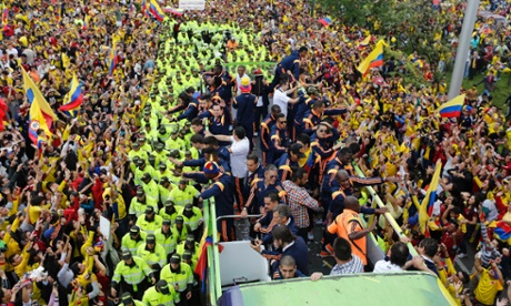 Colombia are welcomed home from the World Cup.
