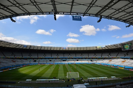 A general view of The Mineirao Stadium in Belo Horizonte as Costa Rica's players prepare for their game againsd England.