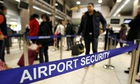 airport security for a flight to Heathrow airport in Britain