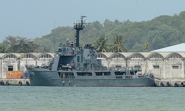 The Sri Lankan naval vessel the Samudra at anchor after transferring 41 asylum seekers whose boat was turned away by Australia.