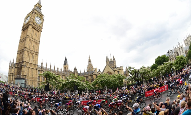 The Tour de France passing the Houses of Parliament yesterday.