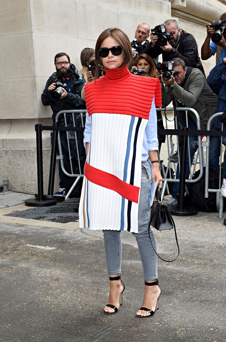 Miroslava Duma arrives to attend the Chanel show as part of Paris Fashion Week