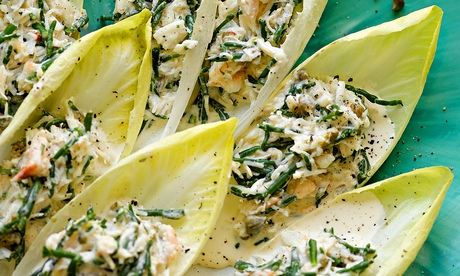 chicory with crab and samphire