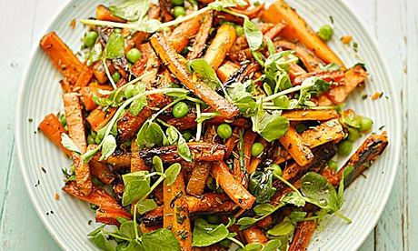 green peas and roasted carrots