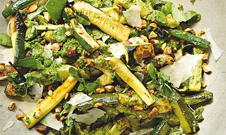 Roasted courgette with watercress, pistachios and parmesan
