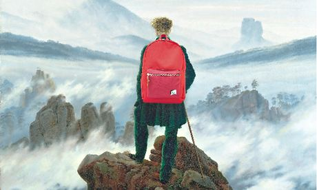 Wanderer Above the Sea of Fog by Caspar David Friedrich, (with a stylish Herschel backpack)