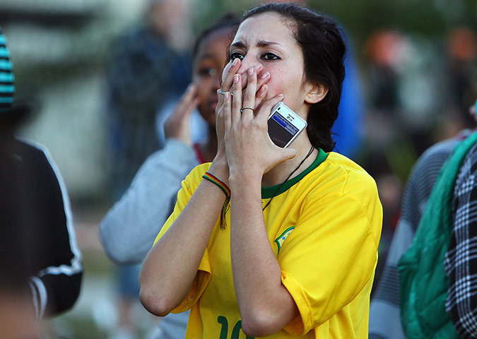 Brazilians in shock-: Brazilina fans react