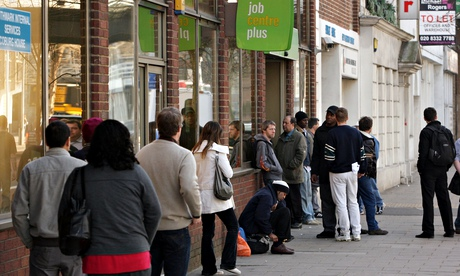 People queuing outside a jobcentre
