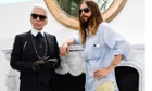 Karl Lagerfeld and Jared Leto at the Chanel Haute Couture show in Paris on Tuesday.