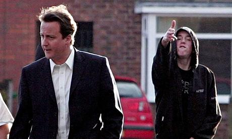 David Cameron's hoodie moment.