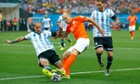 Pablo Zabaleta of Argentina challenges Arjen Robben during the World Cup semi-final.