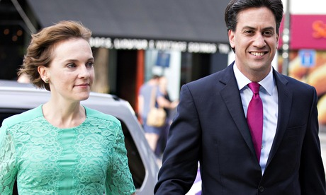 Labour leader Ed Miliband arrives with his wife, Justine Thornton.