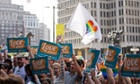 People hold up signs and cheer during a rally at City Hall, Philadelphia. gay marriage same-sex marriage pennsylvania