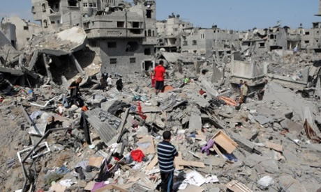 Destruction in Gaza on 26 July
