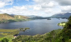 Panorama of Derwentwater in English Lake District from viewpoint in early morning