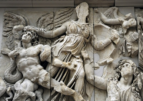 Pergamon Altar. Athena against the giant Alcyoneus.