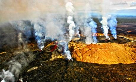 Steam erupting from a volcano, Kilauea, Kauai, Hawaii, USA