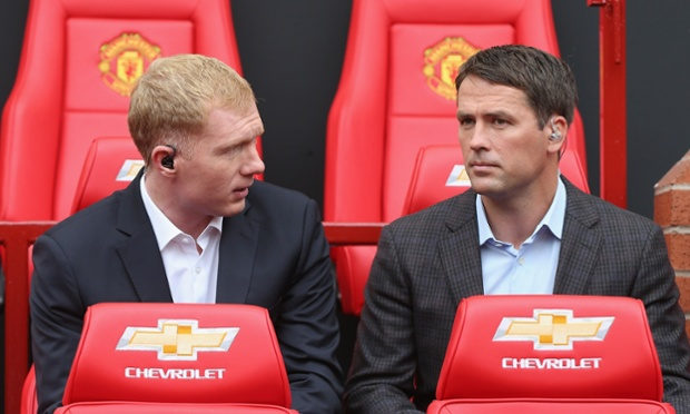 Former players Paul Scholes and Michael Owen take their seats as kick off approaches.  The team today features Jesse Lingard and Tyler Blackett, making their debuts for United.