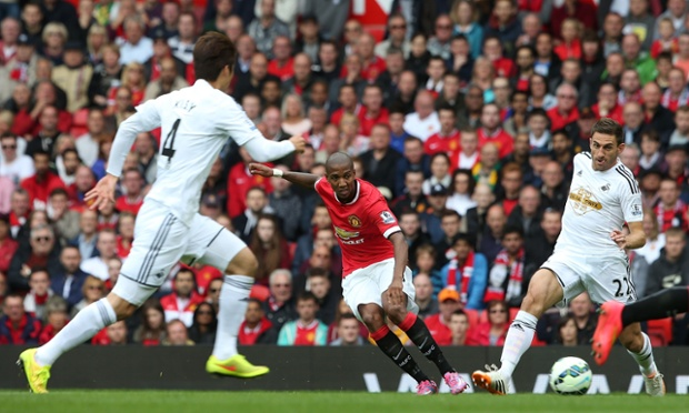 Wilfried Bony gets the ball rolling for the new Premier League season, with Swansea playing into the Stretford End for the first half. Here, Ashley Young  is on the ball in the early stages