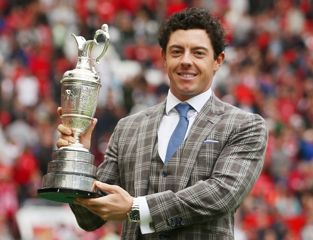Rory McIlroy displays the Open Championship Claret Jug at half time. Judging by the first half performance, United will not be picking up any silverware soon.