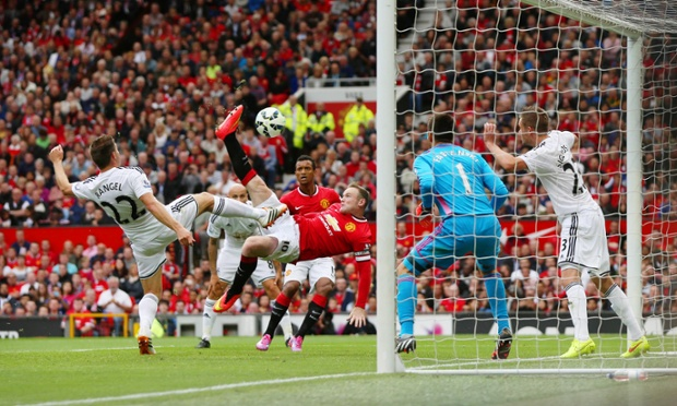 Five minutes into the second half, Rooney equalizes with a spectacular overhead kick from two yards out ...