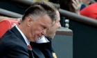 Manchester United manager Louis van Gaal watches on during the 2-1 defeat to Swansea.