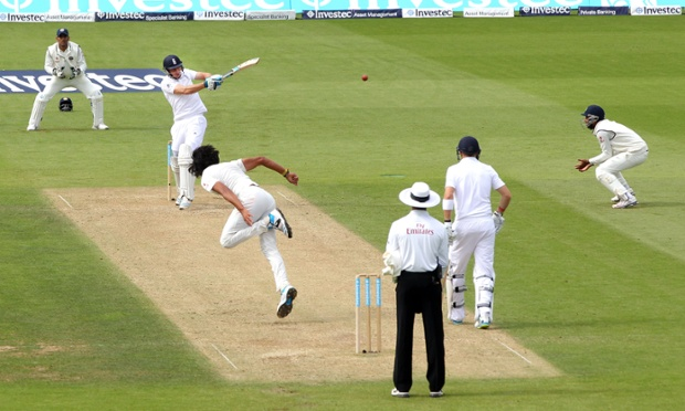 England's Jos Buttler pulls off the bowling of India's Ishant Sharma