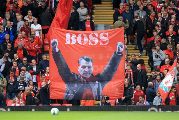 Liverpool fans show their appreciation for their manager  Brendan Rodgers.