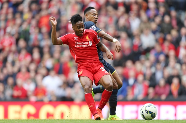 A sumptuous ball from Jordan Henderson sets Raheem Sterling free down the middle, and he strokes the ball into the bottom corner past the onrushing keeper to put Liverpool 1-0 up.