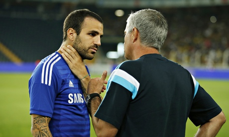 Chelsea's manager José Mourinho talking to his new signing Cesc Fábregas at a pre-season match