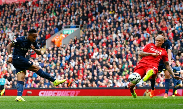 Nathaniel Clyne plays a one-two with Dusan Tadic and then lashes a shot into the top corner to equalise.