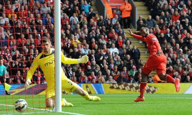 Liverpool's Daniel Sturridge gets the faintest touch on the ball to put the home side back in front.