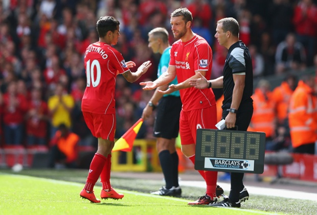 Boyhood Liverpool fan Rickie Lambert, who joined the Reds from Southampton during the summer, comes on for his debut.