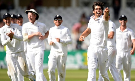 Alastair Cook celebrates after dismissing India's Sharma