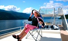 Glamourous older lady on cruise ship