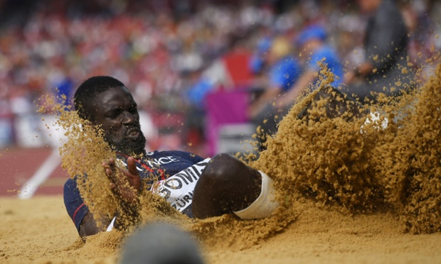 France's Kafetien Gomis takes bronze in the Men's Long Jump.