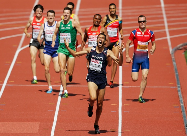 Mahiedine Mekhissi-Benabbad of France seems to have learnt his lesson as he approaches the finish line to win gold in the Men's 1500 metres.