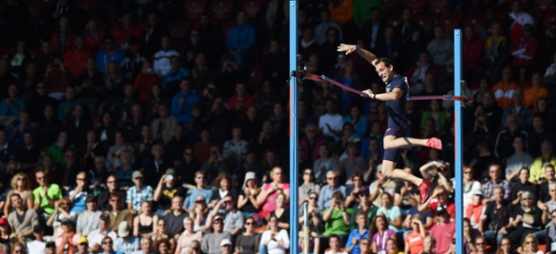 Renaud Lavillenie of France during his Gold medal performance in the men's Pole Vault.