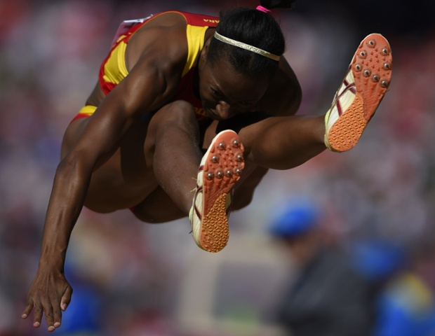 Spain's Ruth Ndoumbe competes in the Women's Triple Jump final.