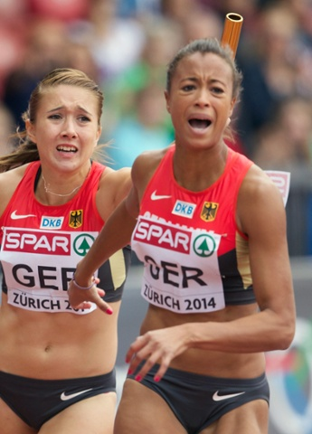 Despair for Germany's Tatjana Lofamakanda Pinto, right, and Rebekka Haase as their failure to pass the baton meant they were disqualified from the women's 4x100m relay heats.
