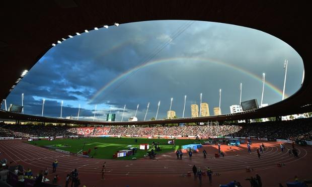 A rainbow over the Letzigrund stadium in Zurich.