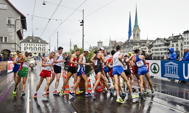 Athletes compete in the Men's 20km walk.