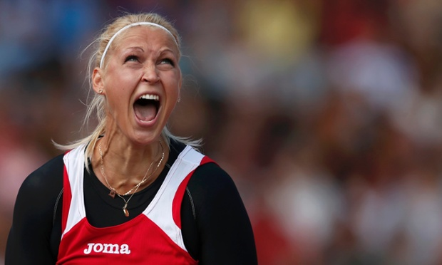 Sinta Ozolina-Kovale of Latvia reacts during the Women's Javelin qualifying round.