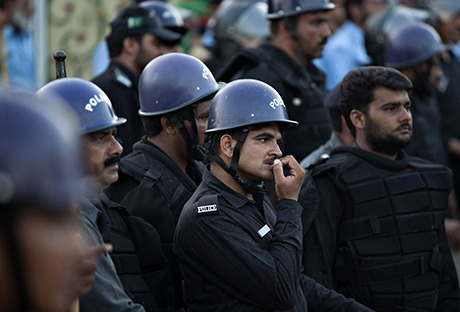 Pakistani police officers on 19 August 2014