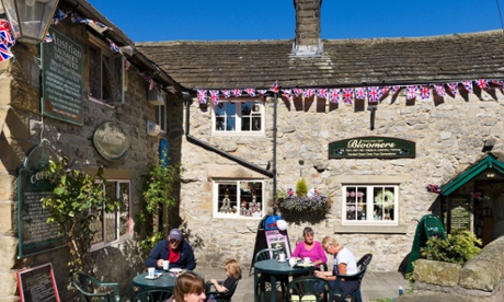 People outside a cafe in Bakewell, Derbyshire