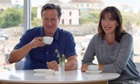 David Cameron and his wife, Samantha, at the Surfside cafe on Polzeath beach in Cornwall.