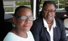 Marlene Pinnock, left, with her attorney, Caree Harper in Los Angeles. Pinnock has sued the California highway patrol over the incident.