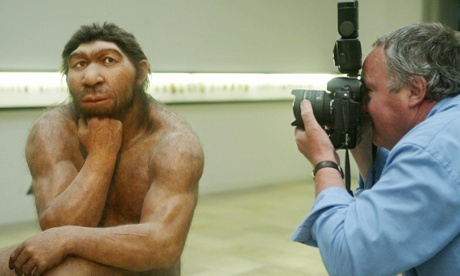 A Neanderthal model on display in the Prehistoric Museum of Halle, eastern Germany.